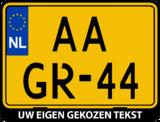 Motor kentekenplaathouder met eigen tekst (ENKEL DE HOUDER!)_