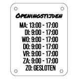 Openingstijden bord 300 x 235 mm_