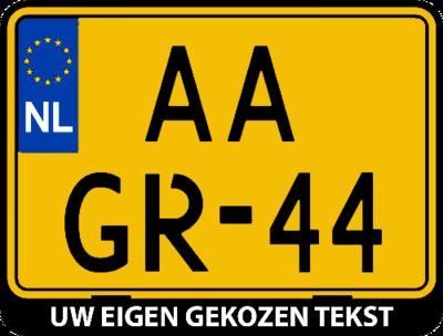 Motor kentekenplaathouder met eigen tekst (ENKEL DE HOUDER!)