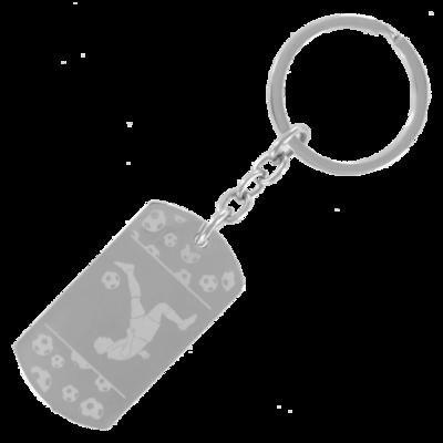 Sleutelhanger dogtag chrome met print