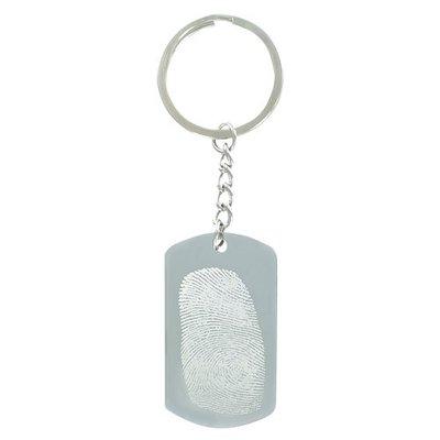 Sleutelhanger / ketting hanger dogtag chrome met vingerafdruk