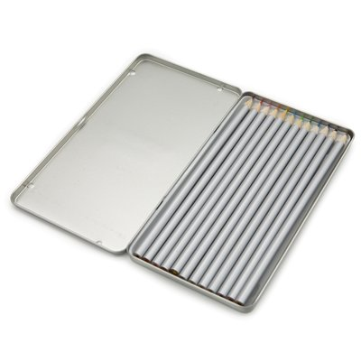 Kleurpotloden set in aluminium opbergdoos