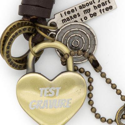 Sleutelhanger hangslot liefdesslot hart brons