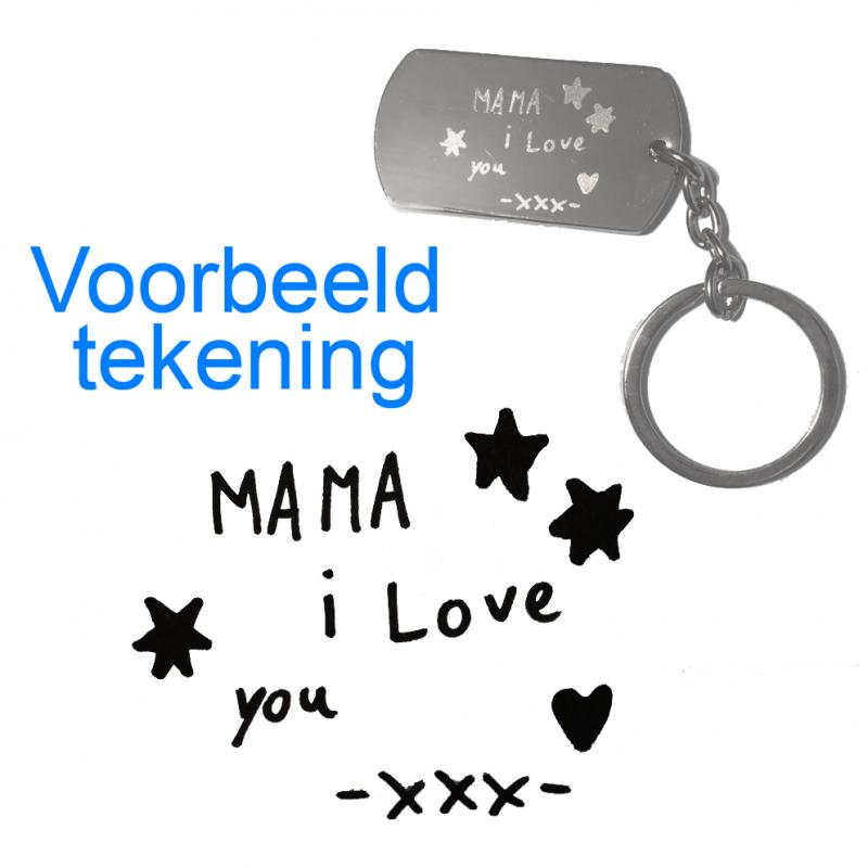 Sleutelhanger / ketting hanger dogtag chrome met tekening