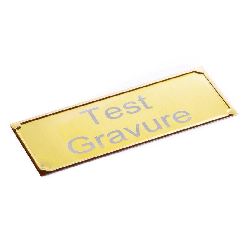 Aluminium naambordje deluxe goudkleurig 105 x 40 mm