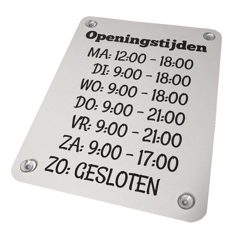 Openingstijden bord 300 x 235 mm