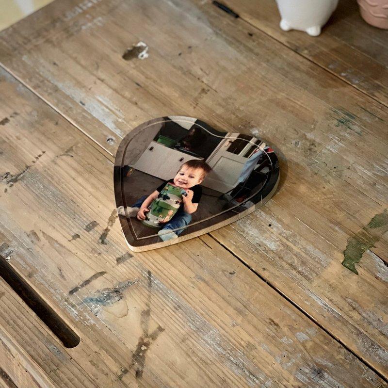 Houten hart 16 cm x 16 cm met foto