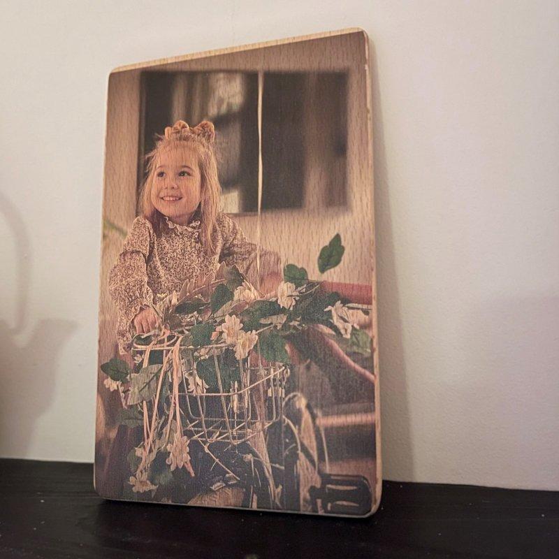 Houten bordje met fotobedrukking 20 cm x 13 cm
