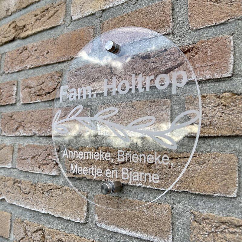 Naambordje voordeur rond 20 cm & 30 cm diameter