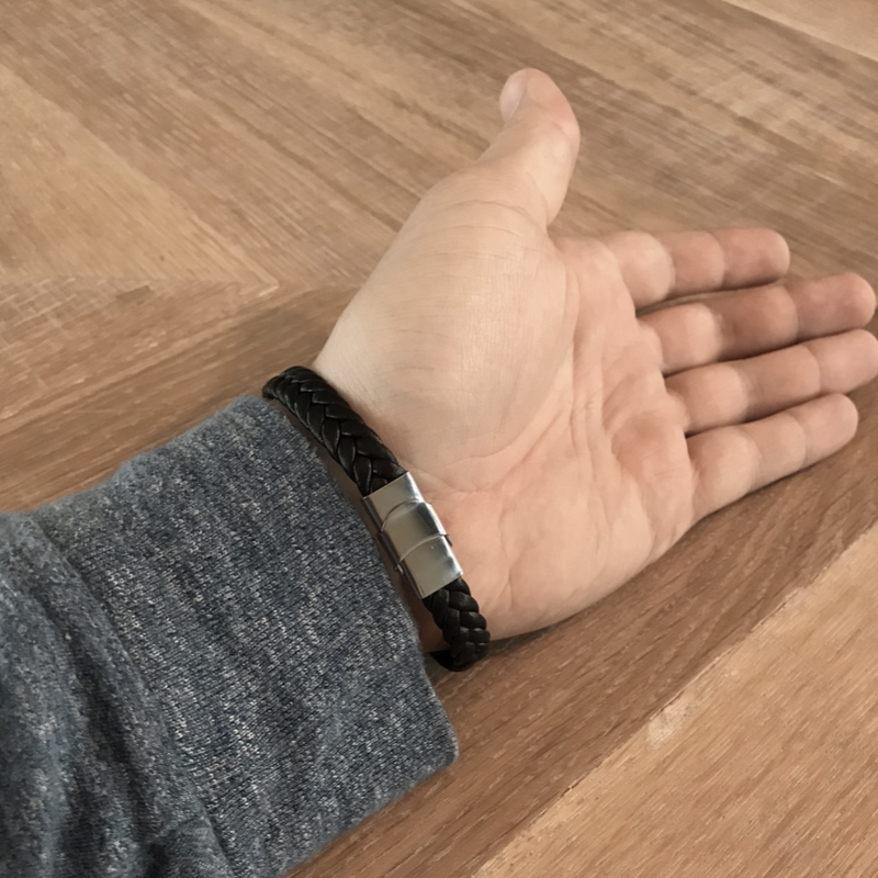 Kunstlederen armband zwart
