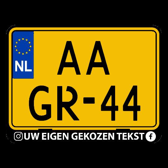 Motor kentekenplaathouder met eigen tekst Nederland en België (ENKEL DE HOUDER!)