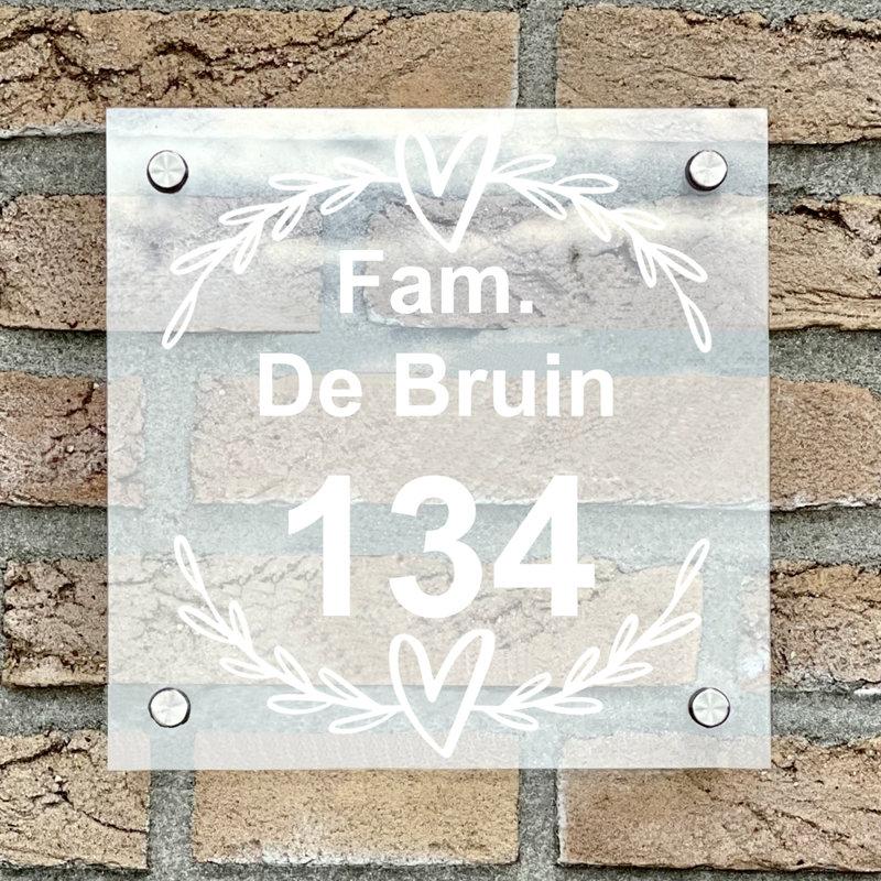 Naambordje voordeur vierkant 16 transparant bordje met witte tekst