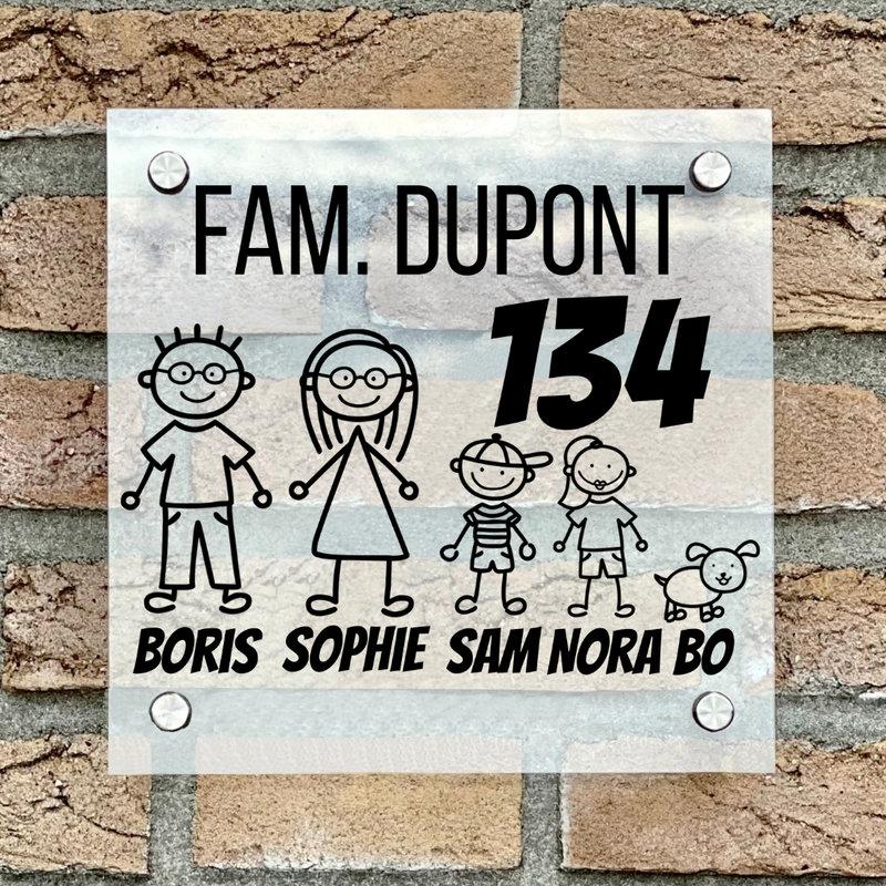 Naambordje voordeur vierkant familie 1 transparant bordje met zwarte tekst