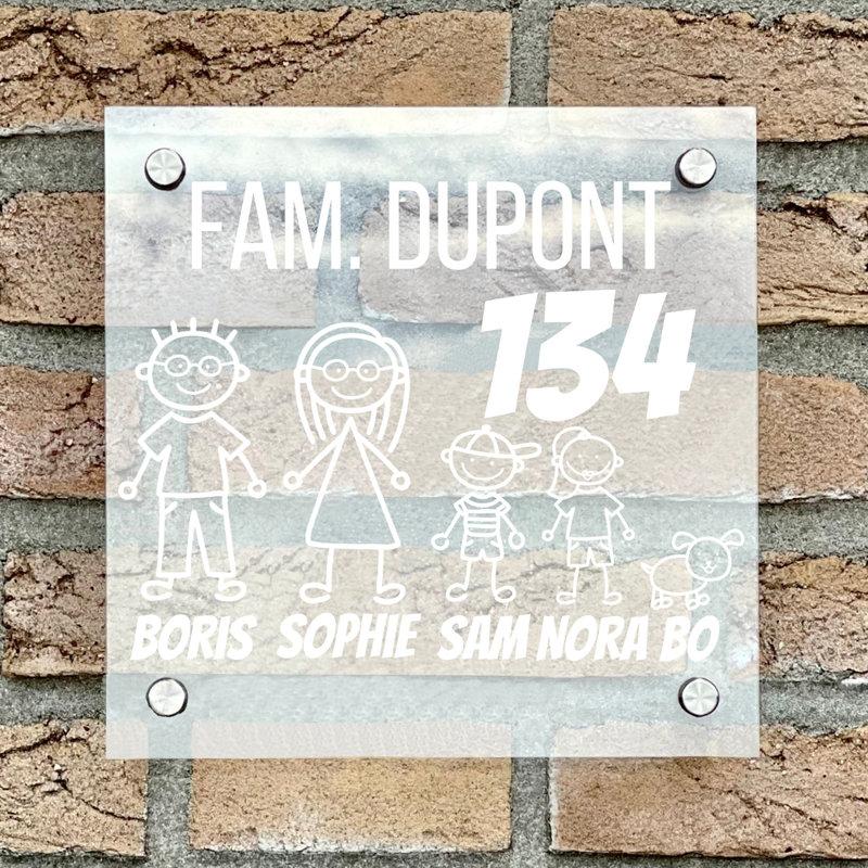 Naambordje voordeur vierkant familie 1 transparant bordje met witte tekst