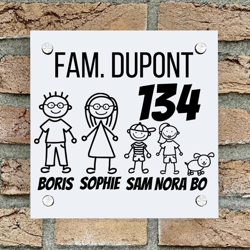 Naambordje voordeur vierkant familie 1 wit bordje met zwarte tekst