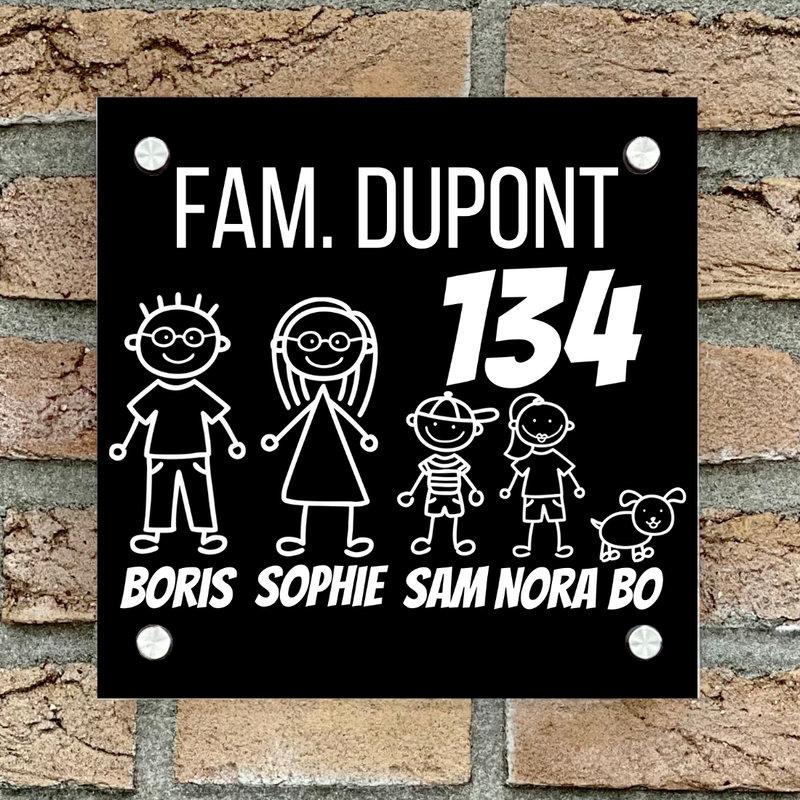 Naambordje voordeur vierkant familie 1 zwart bordje met witte tekst