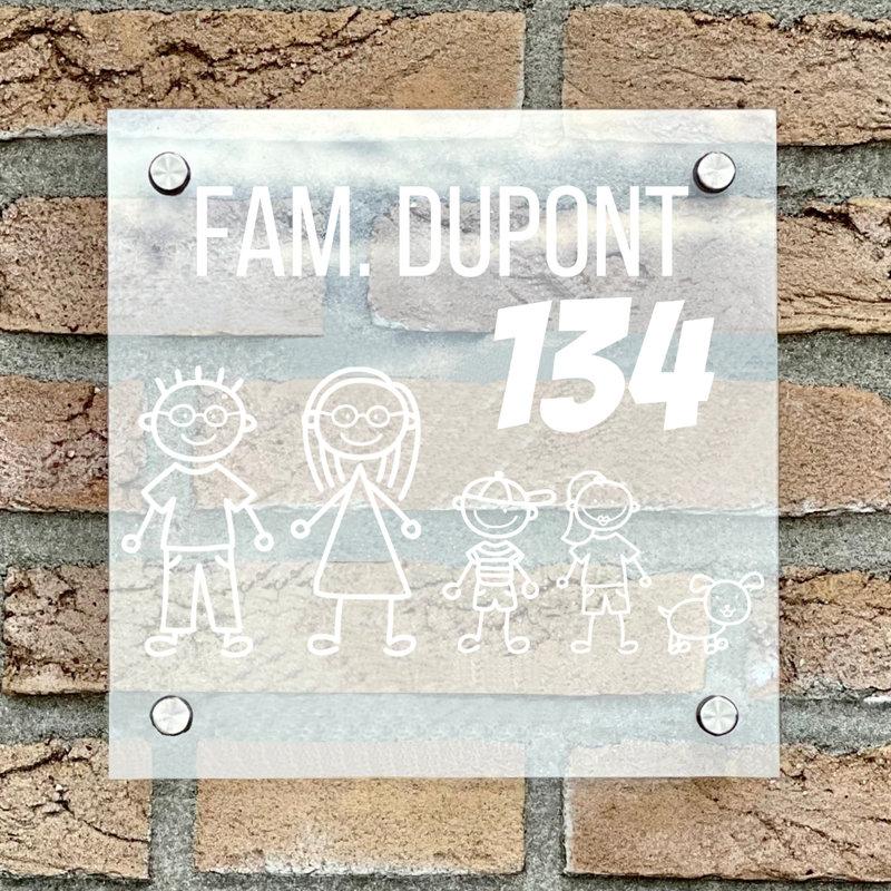 Naambordje voordeur vierkant familie 2 transparant bordje met witte tekst