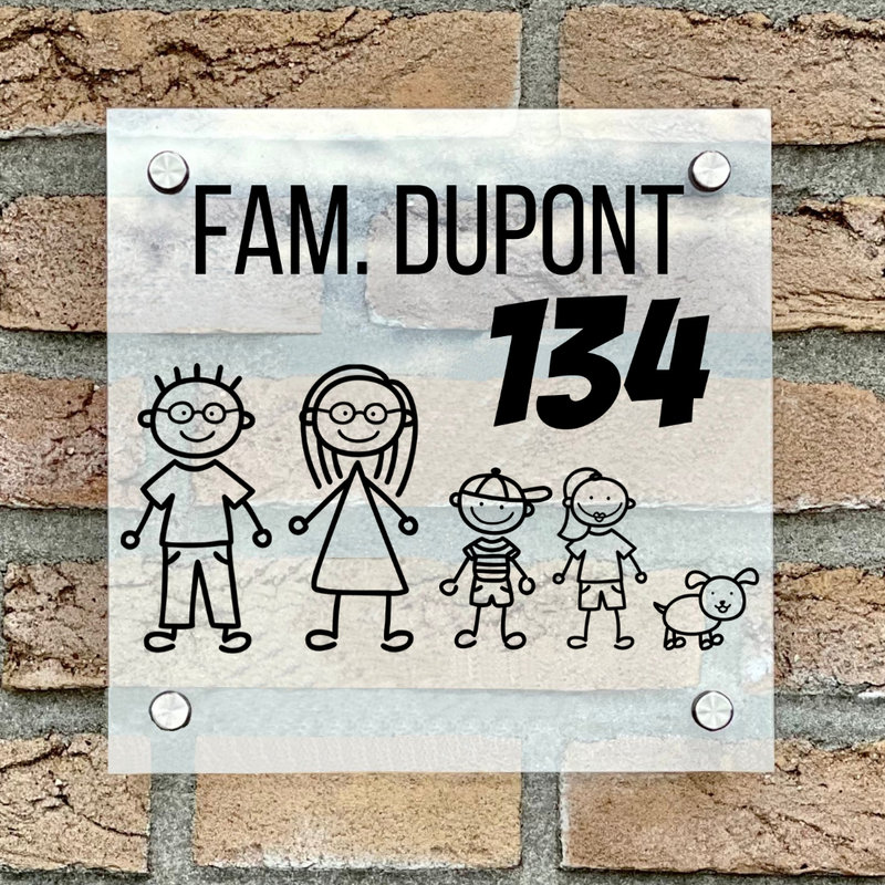 Naambordje voordeur vierkant familie 2 transparant bordje met zwarte tekst