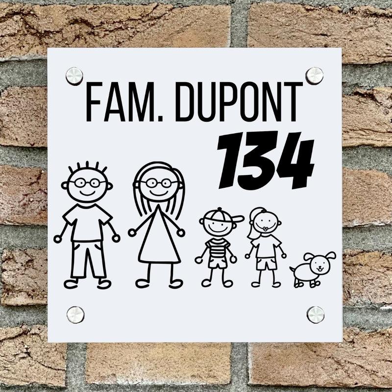 Naambordje voordeur vierkant familie 2 wit bordje met zwarte tekst