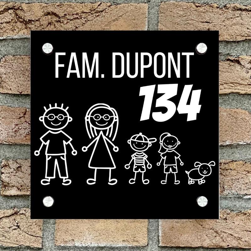Naambordje voordeur vierkant familie 2 zwart bordje met witte tekst