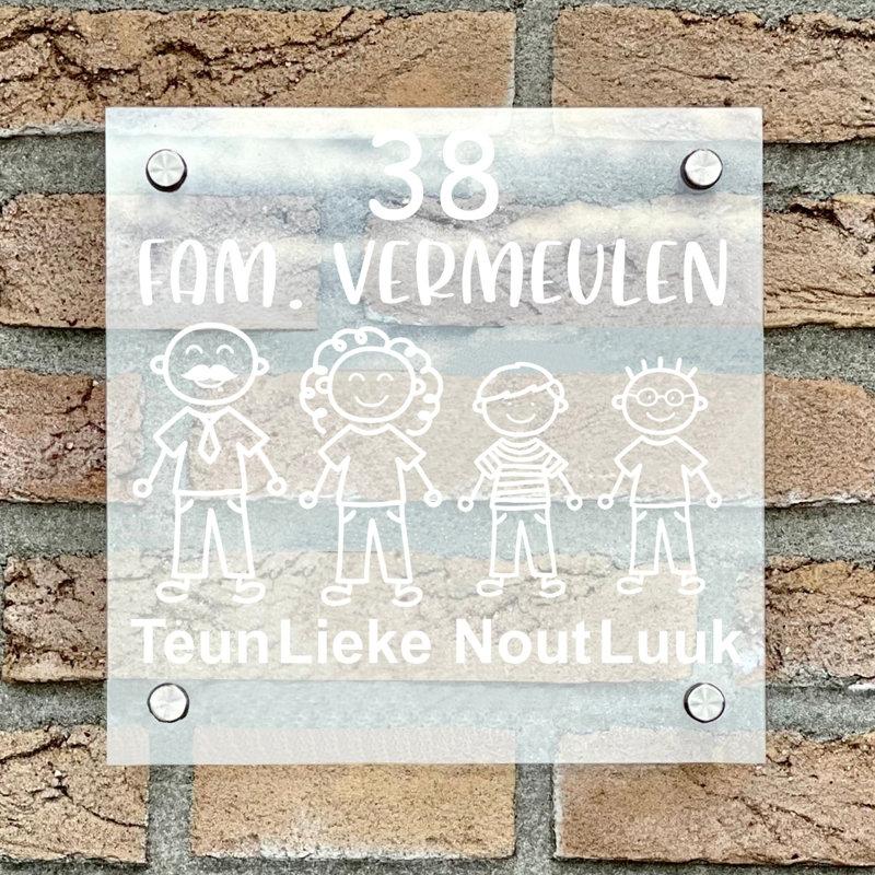 Naambordje voordeur vierkant familie 3 transparant bordje met witte tekst