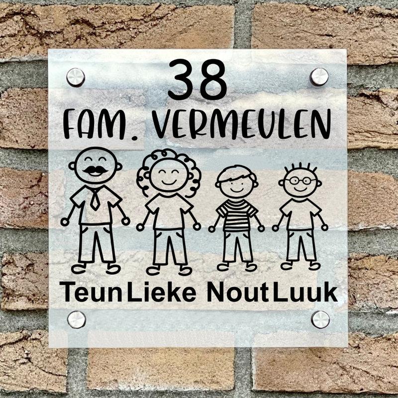 Naambordje voordeur vierkant familie 3 transparant bordje met zwarte tekst