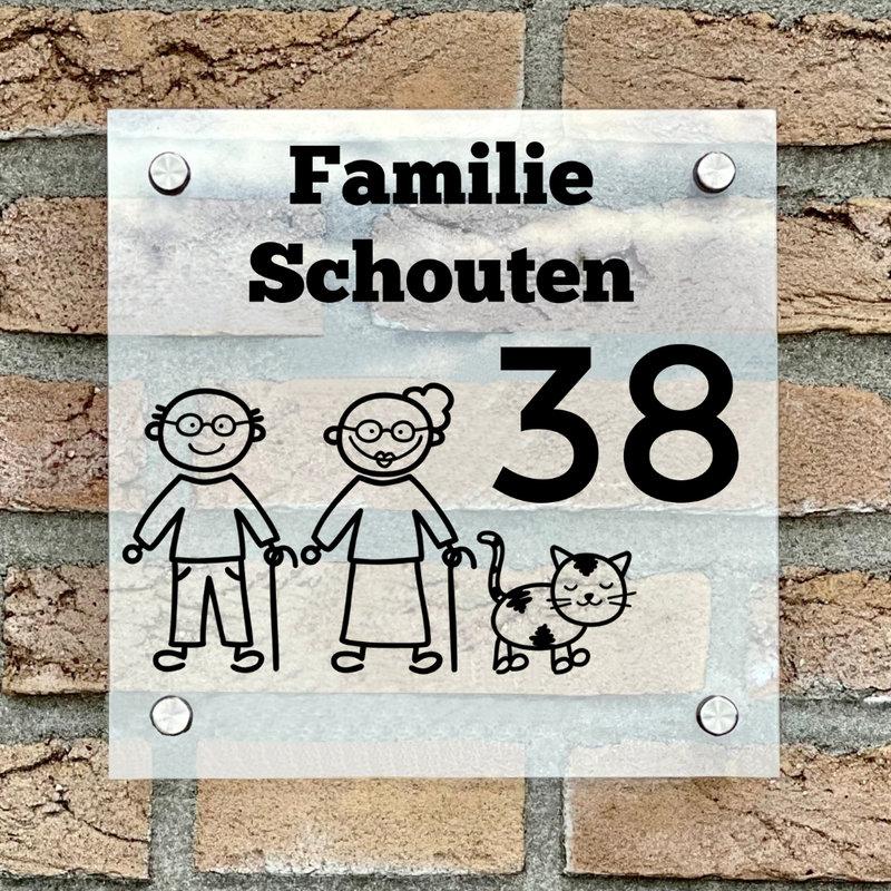 Naambordje voordeur vierkant familie 4 transparant bordje met zwarte tekst