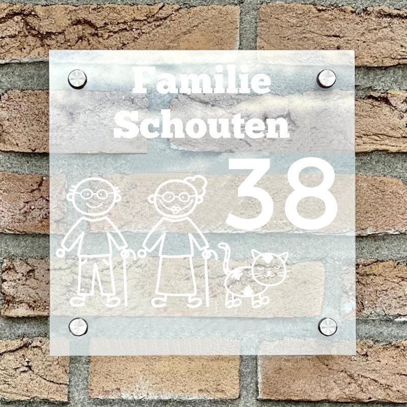 Naambordje voordeur vierkant familie 4 transparant bordje met witte tekst