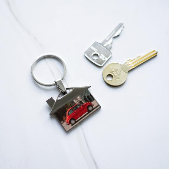 Sleutelhanger met foto huis deluxe
