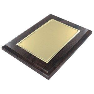 Houten naambord met aluminium goudkleurige plaat 200 x 150 mm